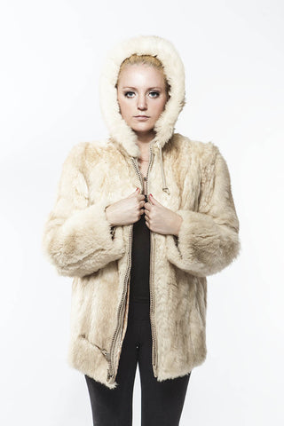 1970's Vintage Hoodie White O'possum Fur Zip Jacket