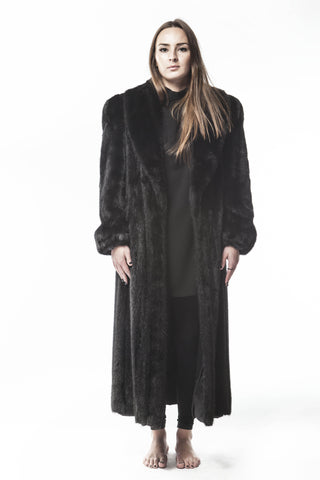 1990's Vintage Full Length Ranch Black Mink  Womens Large