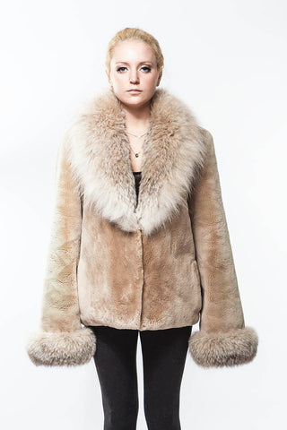 """Penny LANE"" Tan Sheared VINTAGE Beaver Canadian Lynx Collar and Cuffs Reversible Fur Coat"