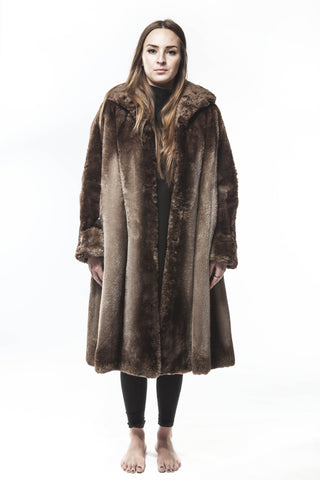 Vintage Dyed Brown Shared Ombre Beaver FUR Coat Large