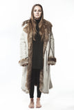Reversible Apres SNOWY WHITE Shearling Full Length Coat Medium