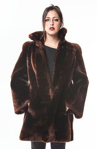 "1960's Vintage ""VELVET"" Mouton Brown Fur Coat"