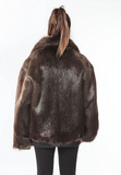 Gently Loved Mens Bown Beaver Fur Rerversible Leather Bomber Jacket