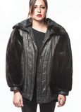 "1970's vintage ""FUNKED OUT""Ranch Mink Fur Bomber with Leather Trim"