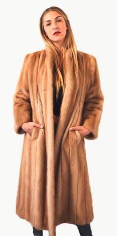1960's Retro Pastel Brown Mad Men Full Length Mink Fur Coat