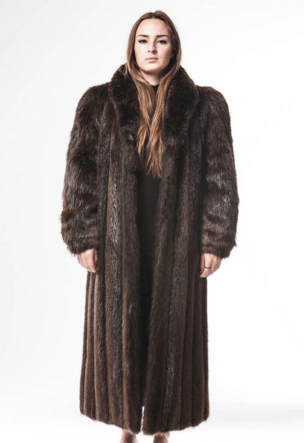 1980's Vintage Full Length Long Haired Beaver Fur Coat