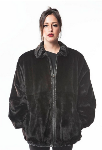 Sheared Mink Reversible Leather ZIP Bomber