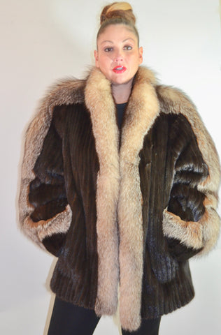 Vintage 80's Brown MINK Crystal Fox Plus Size 16 XL Fur Coat