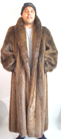 Vintage 80's Mens Womens Flemington Furs / New Jersey Long Haired Beaver Fur Coat