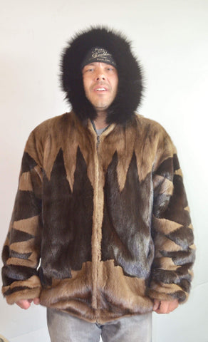 "MENS ""BadAr$$"" Vintage 90's Mink Fur Reversible Leather Hooded Bomber Coat"