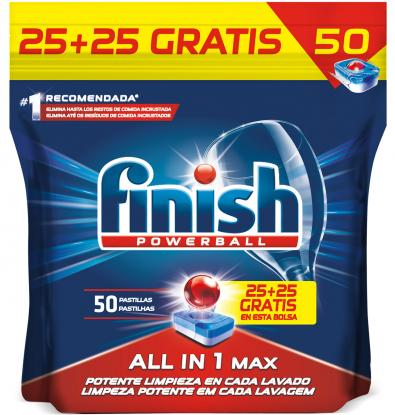 Finish Powerball All in 1 Max Dishwasher Capsules 25+25 Free