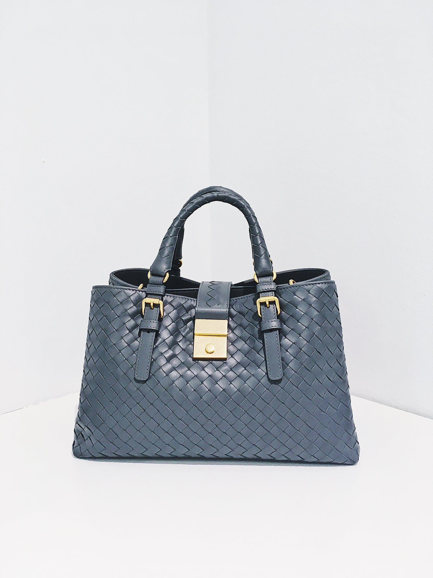 Bottega Veneta Roma Small Bag Light Grey