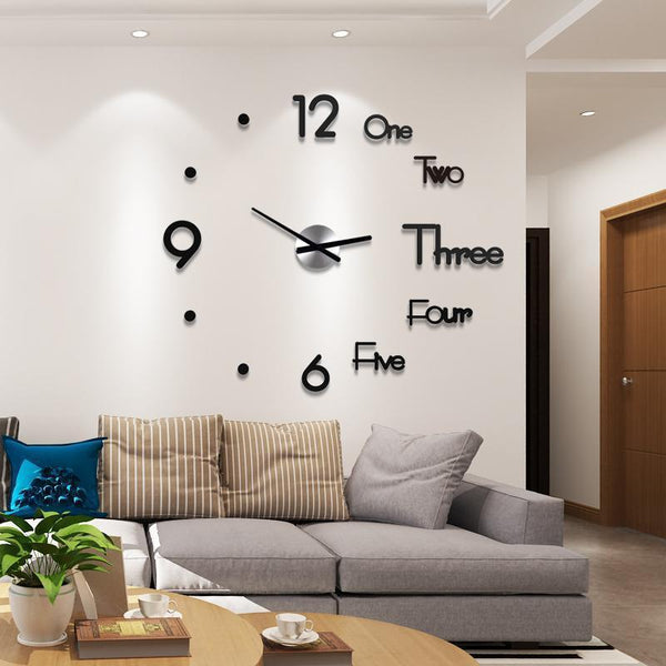 3D Mirror Wall Clock Large Mute Wall Stickers