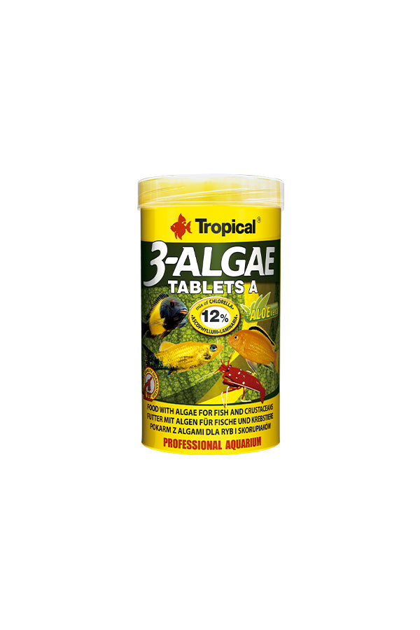 Tropical 3-Algae Tablets A- Adhesive tablets for all fish 50ml/36g (5mm tablets)