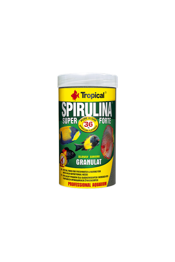 Tropical Super Spirulina Forte Granulat- 36% Spirulina 1000ml/600g (2mm granulat)