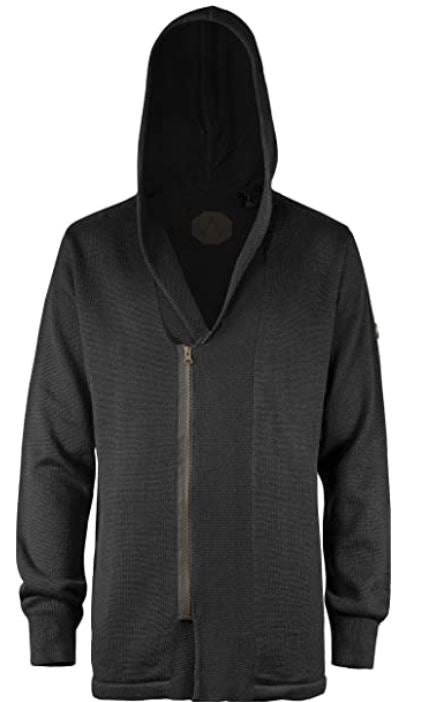 Musterbrand Assassin's Creed Cardigan Shilling Zip-Hoodie Wolle Schwarz
