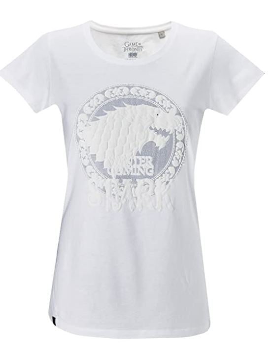 GOZOO Game of Thrones T-Shirt Damen, winds of winter- house stark weiss