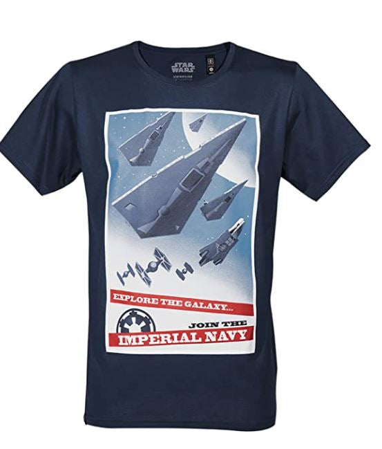 GOZOO Star Wars Classic T-Shirt Herren, Join The Imperial Navy, blau