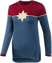Laden Sie das Bild in den Galerie-Viewer, Musterbrand Marvel Crew Neck Damen Captain Marvel blau