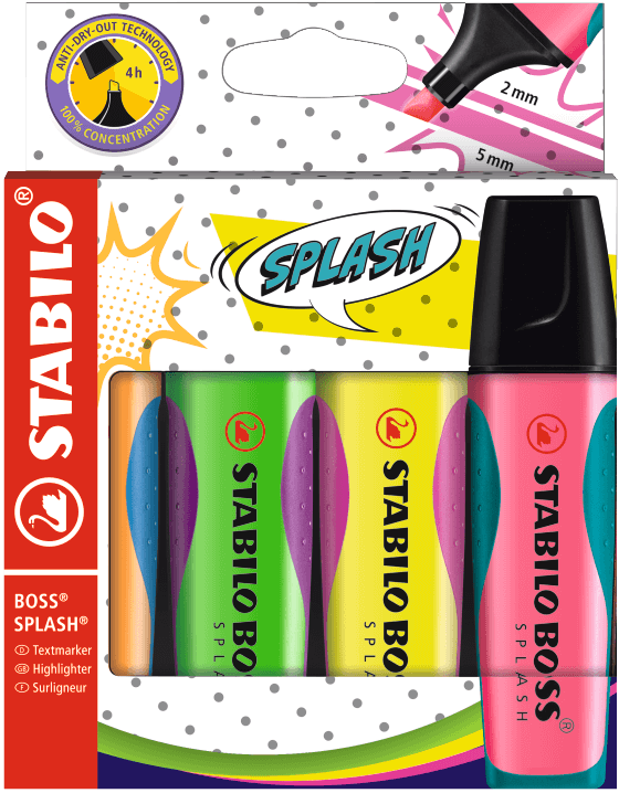 Textmarker - STABILO BOSS SPLASH - 4er Pack - gelb, orange, grün, pink