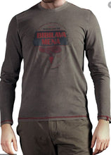 Load image into Gallery viewer, Musterbrand Uncharted Herren Langarm T-Shirt Artefact Vintage Look, braun