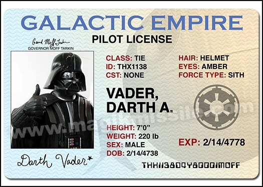 Darth's License magnet