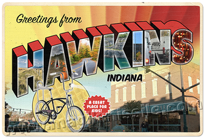 Greetings from Hawkins, Indiana sign