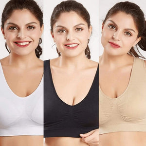 Woman Blush® 31201 Set of 3 (White/Black/Beige) / S Wireless Lift Up Bra