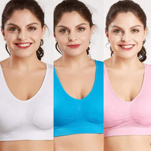 Woman Blush® 31201 Set of 3 (White/Blue/Pink) / S Wireless Lift Up Bra