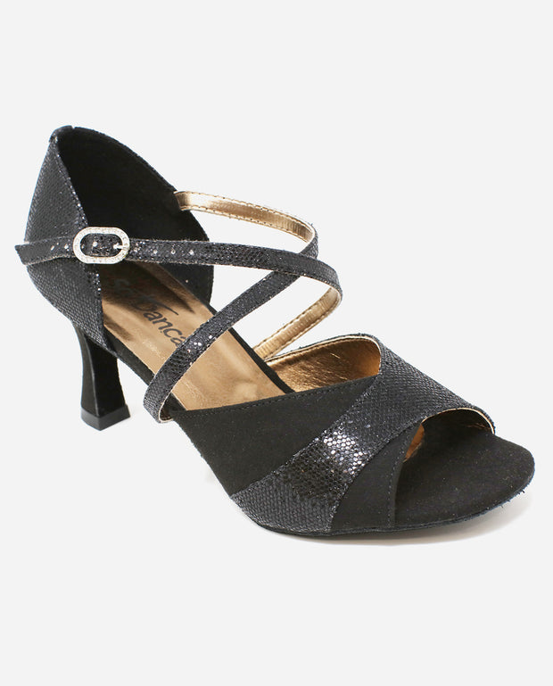 Black Sparkly Salsa Shoe - BL 196