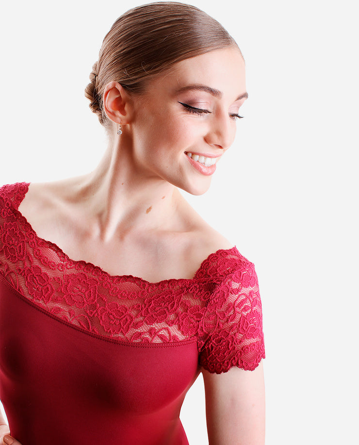 Off-the-shoulder Lace Leotard - E 10945 - So Danca