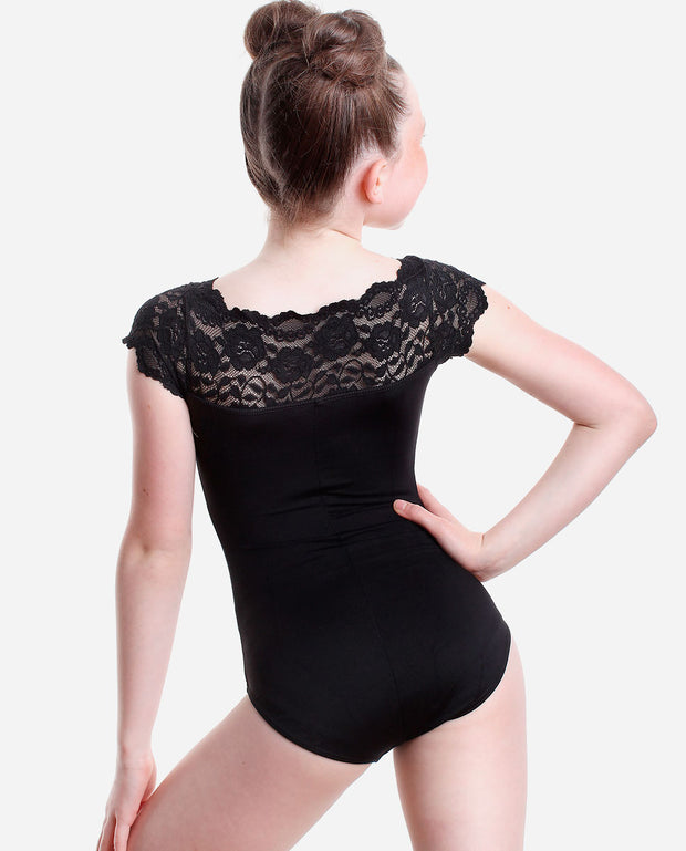 Girl's Lace-trim Leotard - E 11134