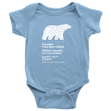 COTTON BABY ONESIE - WHITE LOGO - Canadian Polar Bear Habitat Market
