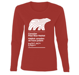 LONG SLEEVE SHIRT - WOMEN - WHITE LOGO - Canadian Polar Bear Habitat Market
