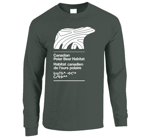 LONG SLEEVE SHIRT - MEN - WHITE LOGO - Canadian Polar Bear Habitat Market
