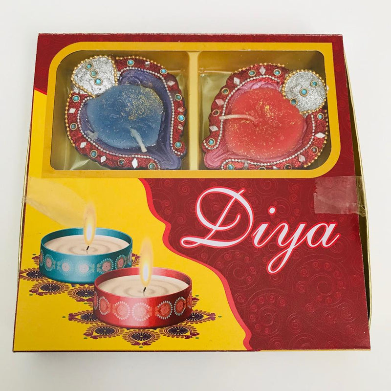 Designer Beaded Diya With Wax - Set of 4pcs
