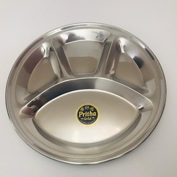 Stainless Steel 4 Compartment Plate