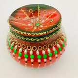Decorated Matki 6 Inch Red and Green Color - Each