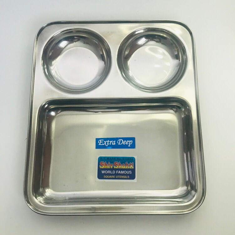 Stainless Steel 3 Compartment Plate