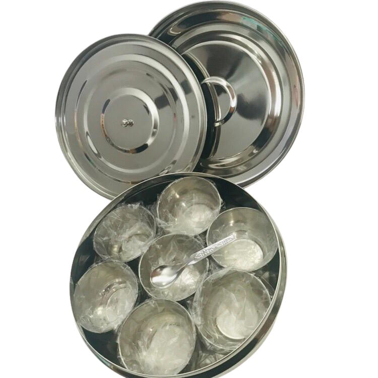 Stainless Steel Masala Dabba/Spice Box With 7 Spice Containers
