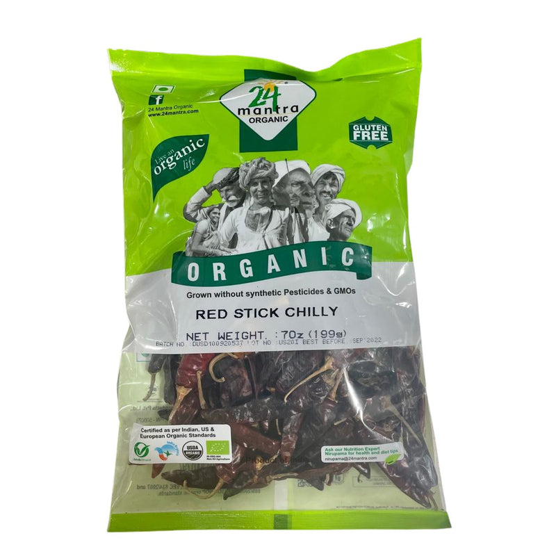 24Mantra Dry Red Stick Chilli Whole Organic - 200g / 7oz