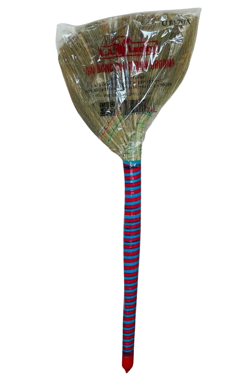 Indian Traditional Straw Broom Colored Handle  - Each