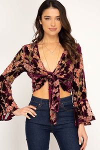 Tambourine Girl - Bell Sleeve Front Tie Crop Top