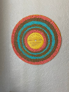 Vinyl  Record beaded Art - Canyon Sun - One of a Kind