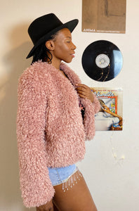 Party Fiesta Pink Fluffy Jacket Sherpa Mauve
