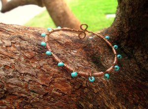 Boho Bangle Bracelet- Wrapped In Turquoise- Copper