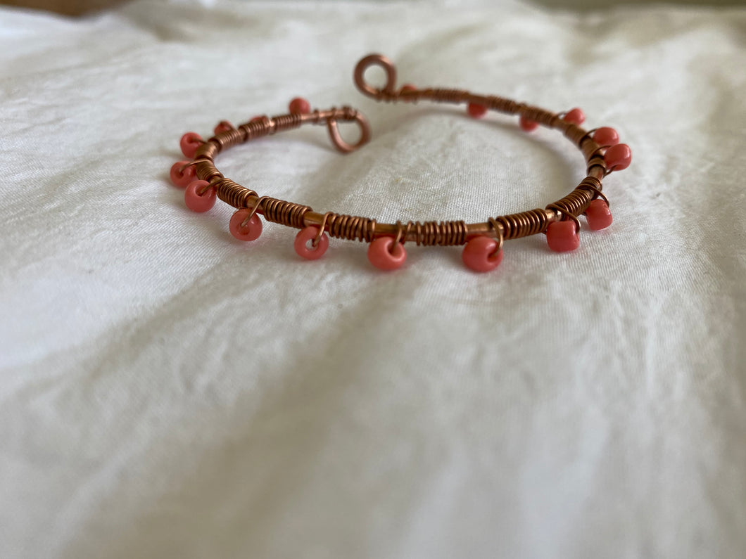 Boho Bangle Bracelet- Wrapped In Coral- Copper