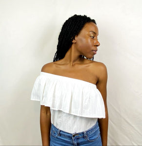 Flirty Summer White Pleated One-Shoulder Top