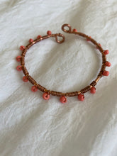 Load image into Gallery viewer, Boho Bangle Bracelet- Wrapped In Coral- Copper