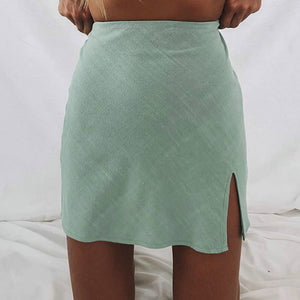 A Line Mini High Waist Skirt with Slit- She's Got Moxy
